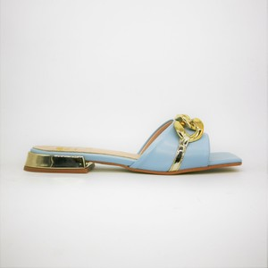 Ciabatte basse con catena Punta quadrata Donna Colbaffo® Celeste Tacco Oro Specchio Made in Italy art. 1020