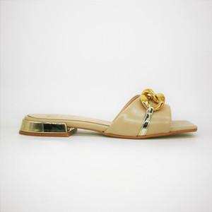 Ciabatte basse con catena Punta quadrata Donna Colbaffo® Beige Tacco Oro Specchio Made in Italy art. 1020