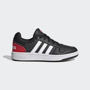 Adidas Hoops 2.0 Ragazzi Nera in pelle con tallone Rosso art. FY7015