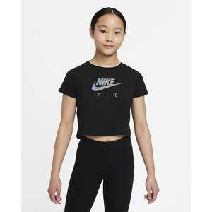 T-shirt corta Ragazza Nike Sportswear Nera con Logo frontale Cangiante art. DJ6932 010