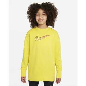 Felpa Ragazza Nike Sportswear Gialla con logo frontale art. DM4694 765