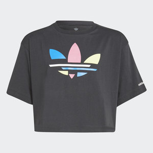 T- shirt Adidas Cropped Ragazze Adicolor Nera con Logo frontale Art. H32349