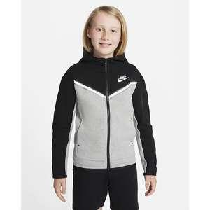 Felpa Nike Nera Grigia con cappuccio e zip Ragazzo Nike Sportswear Tech Fleece Art. CU9223  013