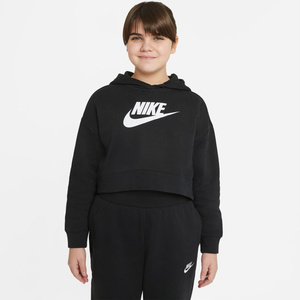 Felpa Nike corta in French Terry con cappuccio Ragazza Nike Sportswear Club Nera Bianca Art. DC7210 010