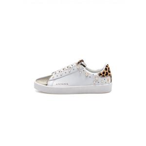 Apepazza Sneakers Donna Bianca GEM dettagli Maculati e Platino con inserti in Perla e Borchie art. F1GLAD02