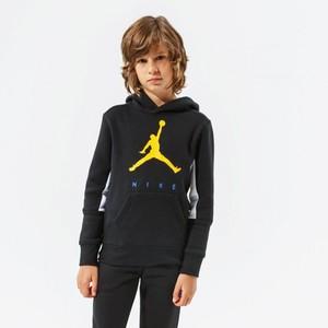Felpa Jordan by Nike Nera con Cappuccio e logo Giallo frontale Ragazzi Art. 95A675 023