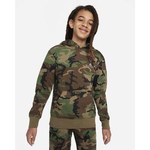 Felpa Jordan Ragazzi con Cappuccio Camouflage Verde con logo ricamato Art. 95A717 E4F
