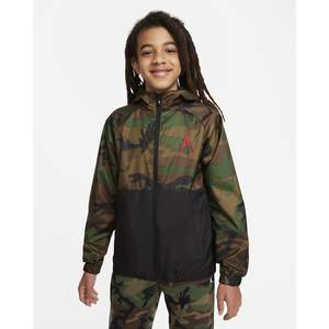 Giacca a Vento Jordan con cappuccio Verde Militare Ragazzi art. 95A469 X35