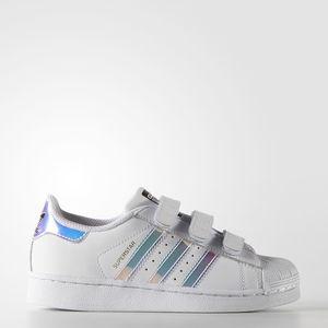 Adidas Superstar Strappi Bianco Strisce Olografiche Specchio Art. AQ6279