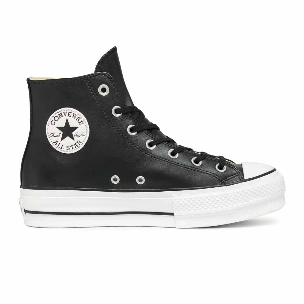 brand new 93632 dd170 Converse All Star Platform Alte Zeppa Lift Clean Scarpe Sneakers Nero Pelle  Art. 561675C