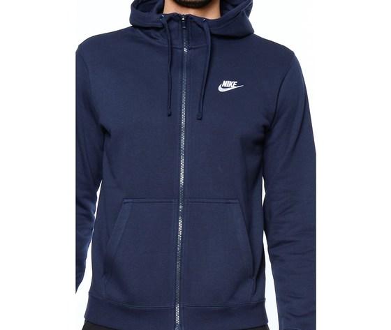 Nike m nsw club hoodie fz ft erkek sweatshirt 451 116136