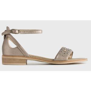 Sandalo NeroGiardini in Pelle Colore Cipria con Borchiette e cavigliera art. P908233D 614