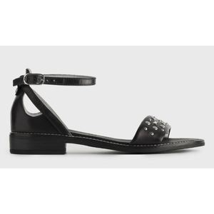 Sandalo NeroGiardini in Pelle Nera con Borchiette e cavigliera art. P908233D 100