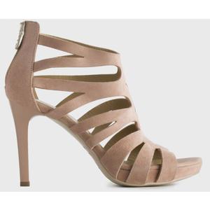 Sandalo NeroGiardini in Suede colore Phard con listini a gabbia Tacco a stiletto 10 cm e Plateau di 2 cm art. P908501DE 660