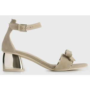 Sandalo NeroGiardini in Camoscio e Tessuto tecnico Color Sabbia Fiocco e cinturino alla caviglia Tacco cromato 5 cm art. P908520DE 410