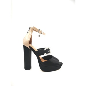 Sandalo 06 Milano Colore Nudo Nero Raso Tacco 120 mm e plateau 2 mm Fibie Swarovski art. SA0626 NU