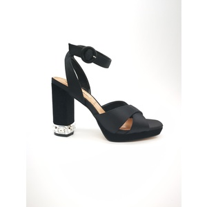 Sandalo 06 Milano Raso Nero Tacco grosso con pietre plateau e sottopiede in vera pella art. SA0629 NE