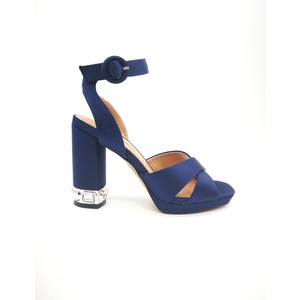 Sandalo 06 Milano Raso Blu Tacco grosso con pietre plateau e sottopiede in vera pelle art. SA0629 NA