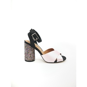 Sandalo 06 Milano Colore Rosa Tacco basso con glitter multicolor fascia ad incrocio art. SA0631 RO
