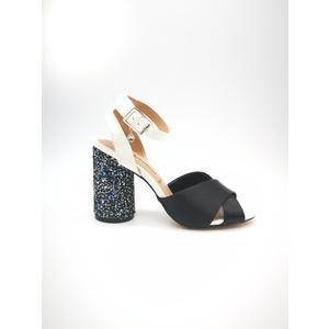 Sandalo 06 Milano Colore Nero Tacco basso con glitter multicolor fascia ad incrocio art. SA0631 NE