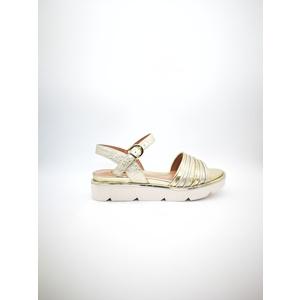 Sandalo basso Luciano Barachini pelle laminato platino oro art. CC121H