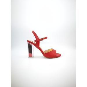 Sandalo Luciano Barachini Nappa Pelle rosso tacco trasparente inserto rosso art. CC251R