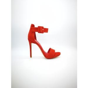 Sandalo Luciano Barachini tacco a spillo 13 Camoscio Rosso tallonetto fascetta art. CC681D