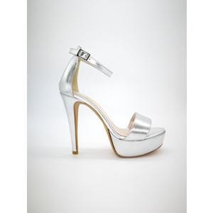 Sandali Argento Tacco Alto 13 Colbaffo®  plateau 3 cm tallonetto e cinturino alla caviglia art. 440ARG