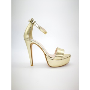 Sandali Oro Platino Tacco 13 Alto Colbaffo® con plateau 3 cm tallonetto cinturino art. 440PLA