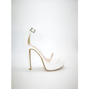 Sandali Colbaffo® bianco tacco 13 plateau 3 cm tallonetto cinturino art. 440BIA