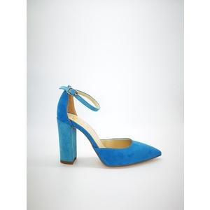 Decolleté Colbaffo® turchese tacco 90 tallonetto e punta camoscio azzurro art. 218TUR