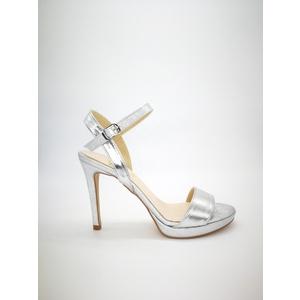 Sandali Colbaffo® argento tacco 10 plateau minimal 1 cinturino alla caviglia art. .091ARG/GLOSS