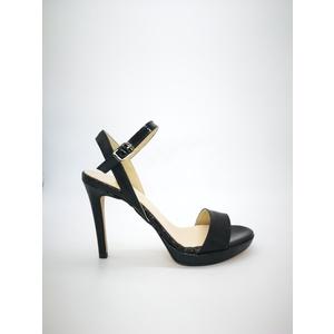 Sandali Colbaffo® nero tacco 10 plateau minimal 1 cinturino alla caviglia art. .091NER