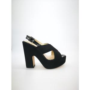 Sandali Colbaffo® nero zeppa 12 fascia a incrocio camoscio art. 706NER