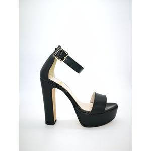 Sandali Colbaffo® nero tacco 12 plateau 3cm cinturino e fascia art. 449NER