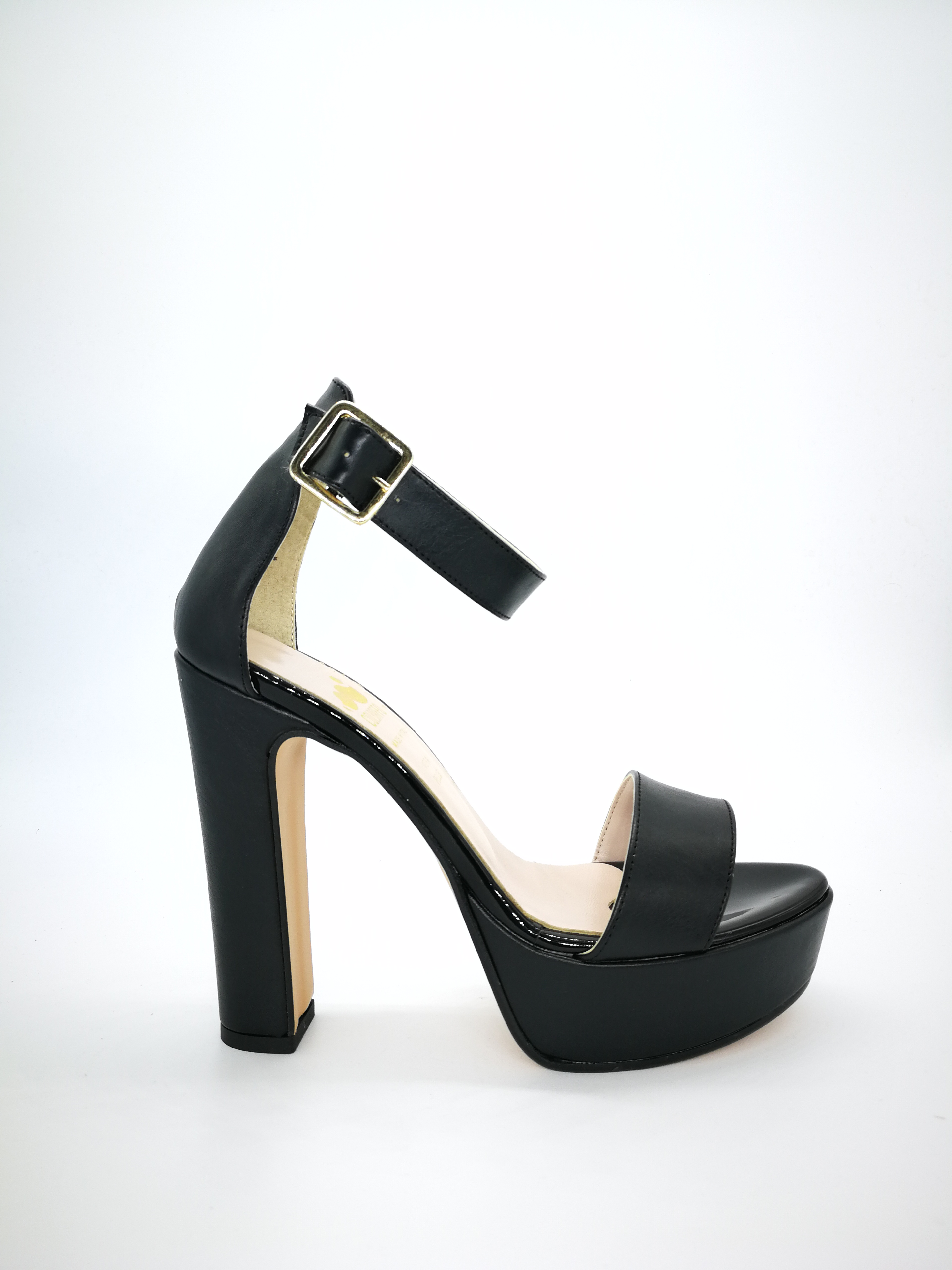 timeless design 9bd32 87eb7 Colbaffo® sandali colore nero tacco 12 plateau 3cm con cinturino stretto e  fascia in vera pelle di vitello. Produzione artigianale 100% Made in Italy  ...