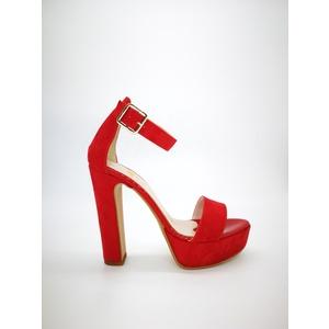 Sandali Colbaffo® rosso tacco 12 plateau 3cm cinturino e fascia art. 449ROS