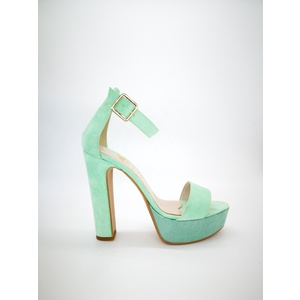 Sandali Colbaffo® verde tacco 12 plateau 3cm cinturino e fascia art. 449VER