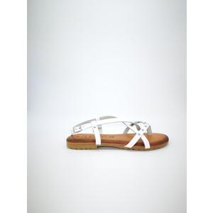 Sandali piani cuoio bianco fibbia con borchie art. AMBRA BI