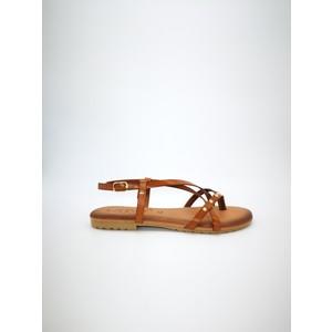 Sandali piani cuoio fibbia con borchie art. AMBRA CUO