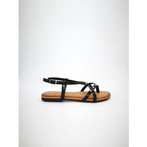 Sandali piani cuoio nero fibbia con borchie art. AMBRA NE