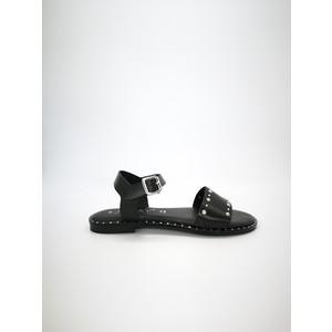 Sandali piani nero pelle con borchie e cinturino con fibbia art. RAISSA NE
