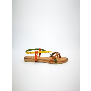 Sandali piani cuoio multicolor giallo verde rosso fibbia art. MIMOSA MUL