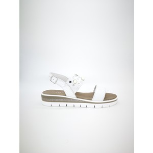 Sandali Rio bianco pelle zeppa 4cm plateau 2cm doppia fascia fibbia borchie art. 2453867 BI