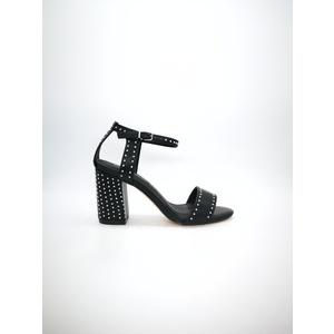 Sandalo Pregunta nero tacco 8cm plateau 0,5cm cinturino alla caviglia borchie art. MCI1001 002