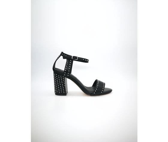 Mci 1001 002 nero sandalo borchiato tacco basso %281%29