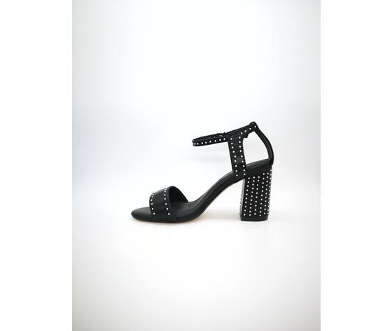 Mci 1001 002 nero sandalo borchiato tacco basso %283%29