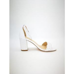 Sandalo Pregunta bianco tacco 8cm plateau 0,5cm cinturino alla caviglia borchie art. MCI5001 002