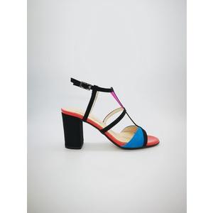 Sandali Cinzia Soft multicolor tacco largo 8,5cm fibbia caviglia 3 fasce art. IBB871-C 002