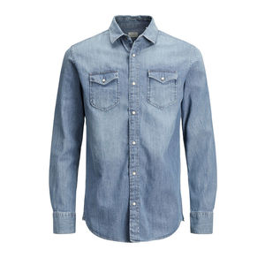 Camicia Jack & Jones jeans blu Denim cotone uomo art. 12138115 BluDenim